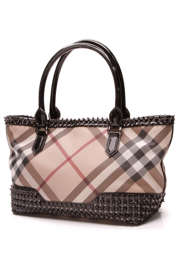 Burberry Studded Star Tote Bag Supernova Check Coated Canvas