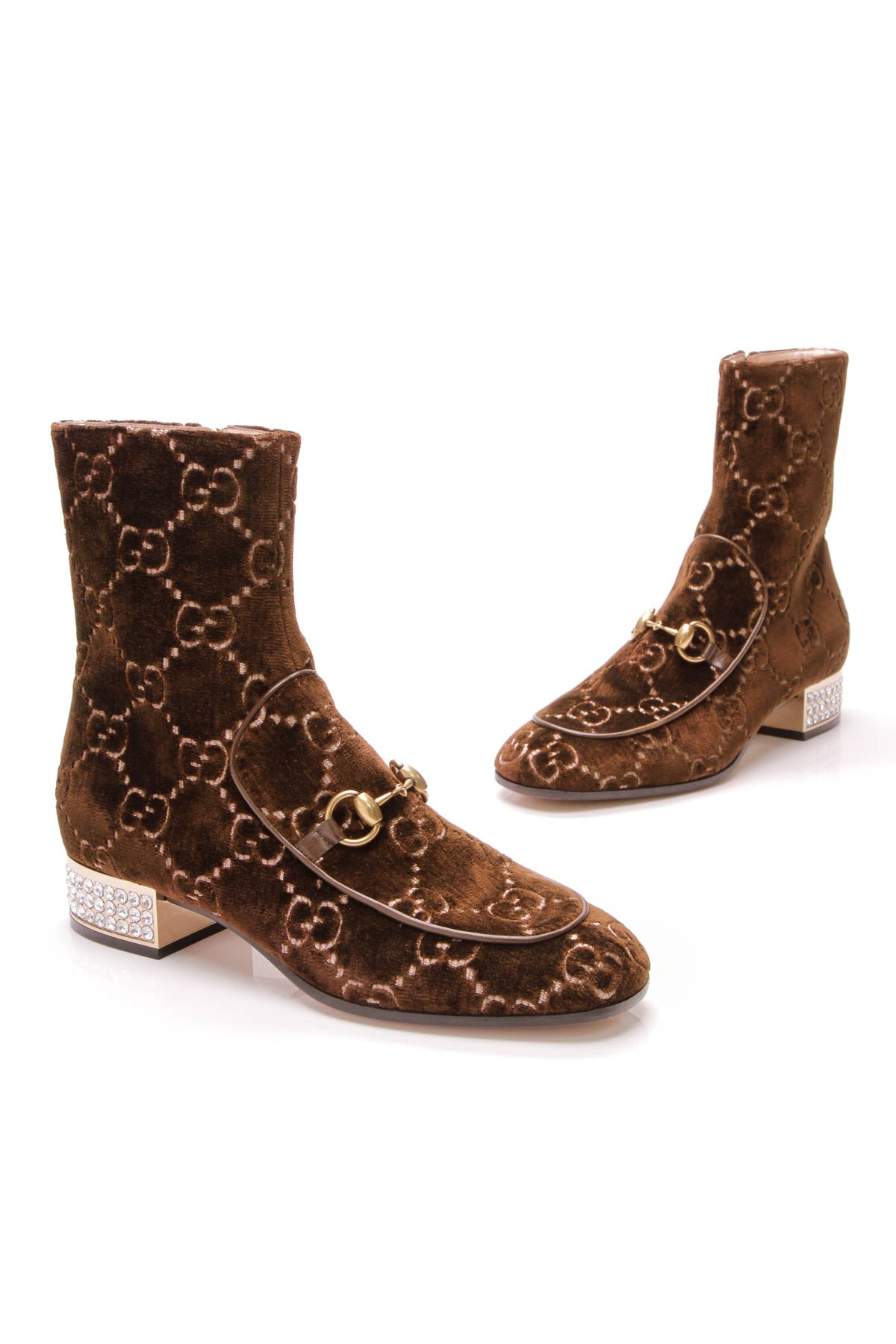 162a4f3ee Gucci Mister GG Booties - Brown Embossed Velvet Size 39 – Couture USA