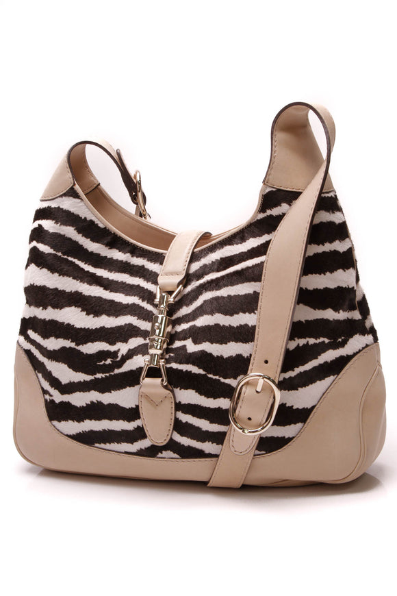 Gucci New Jackie Small Shoulder Bag Zebra Print Calf Hair