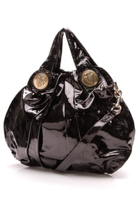Gucci Hysteria Medium Top Handle Bag Black Patent Leather