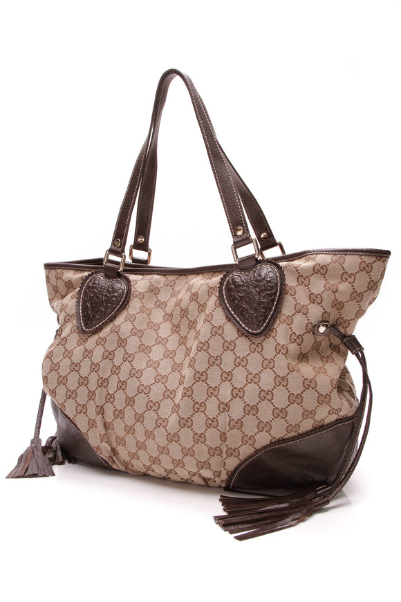 Gucci Tribeca Tote Bag GG Canvas Brown