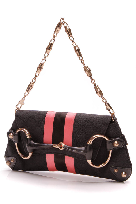Gucci Horsebit Clutch Black Pink GG Canvas