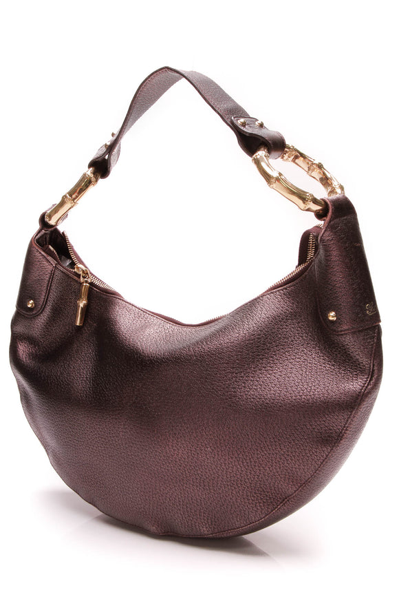 Gucci Bamboo Ring Hobo Bag Metallic Purple