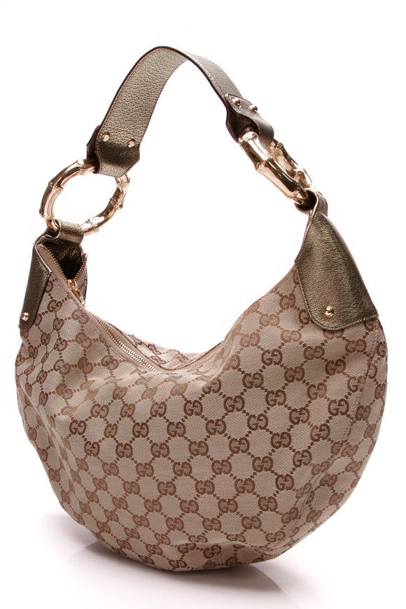 Gucci Bamboo Ring Hobo Bag GG Canvas