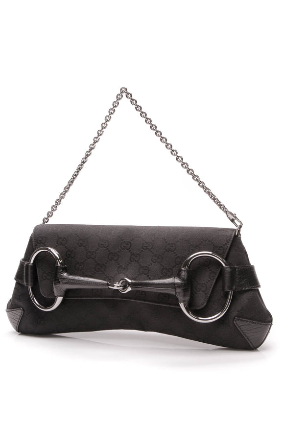 Gucci Horsebit Clutch Bag Black GG Canvas