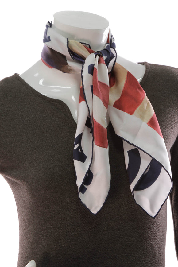 Chanel Paris-Dallas American Flag Silk Scarf White