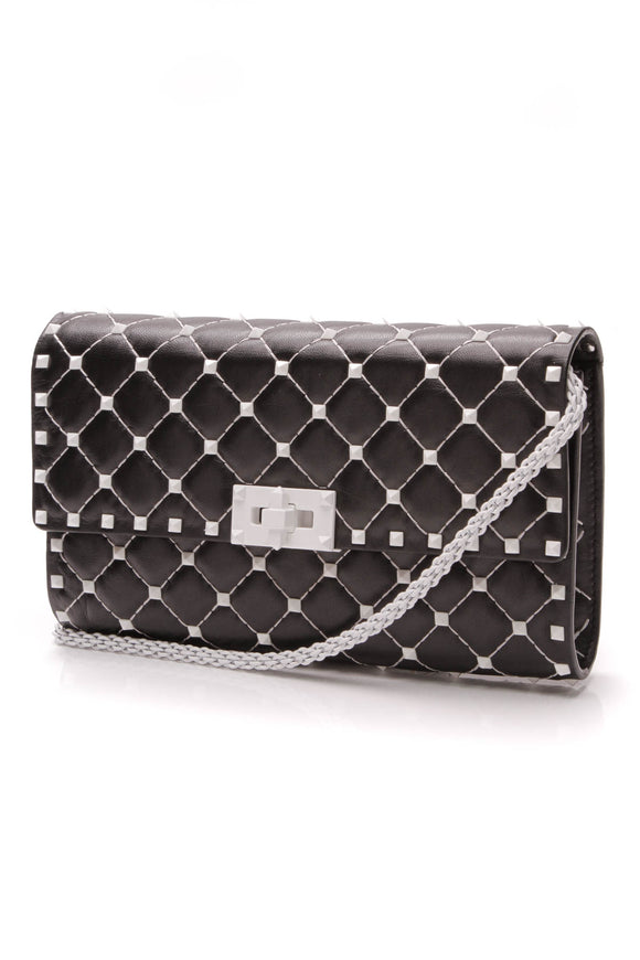 Valentino Free Rockstud Spike Chain Bag Black Leather