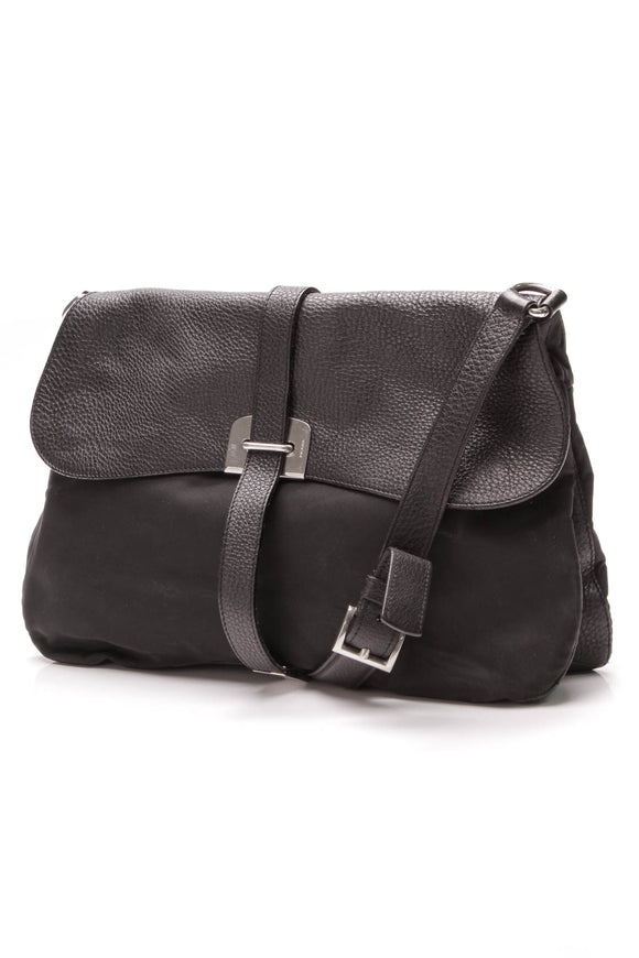 Prada Flap Messenger Bag Nylon Leather Black