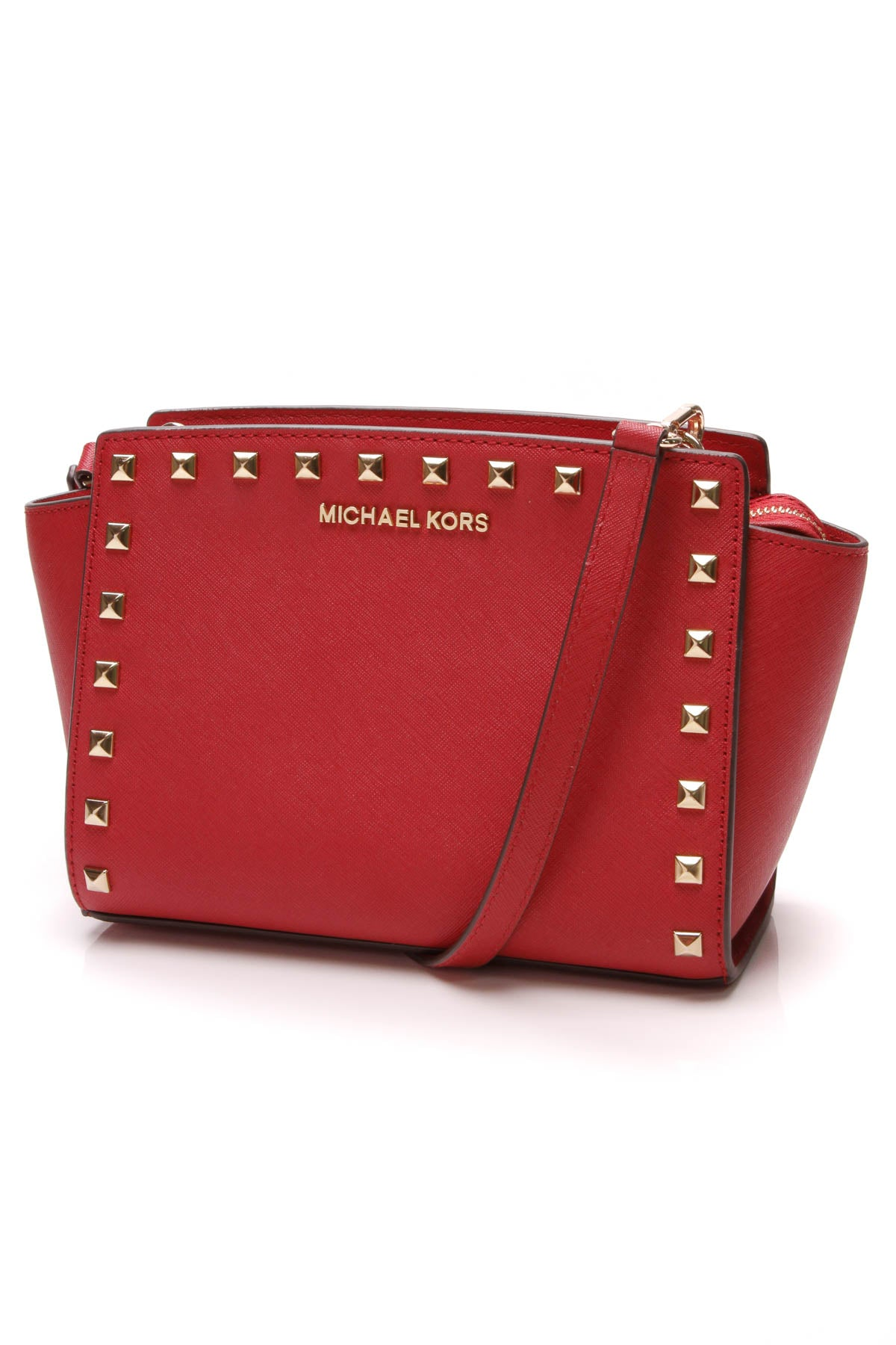 ec0988110bf3 Michael Kors Selma Mini Studded Messenger Bag - Red Saffiano Leather ...