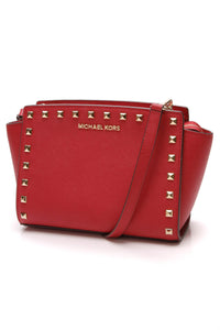 Michael Kors Selma Mini Studded Messenger Bag Red Saffiano Leather