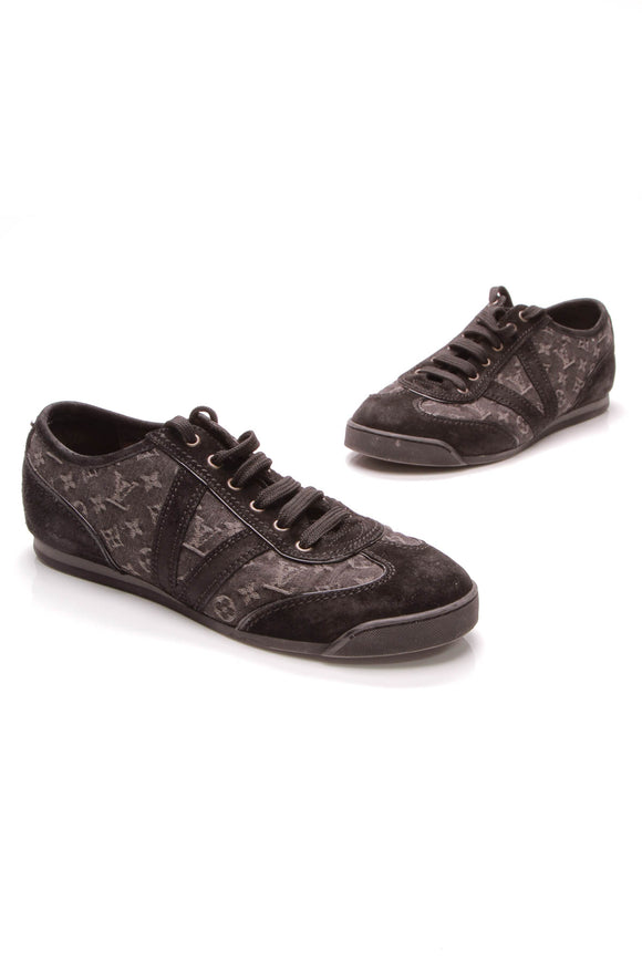 Louis Vuitton Monogram Denim Sneakers Black Size 6