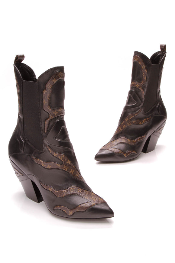 146939e53112 Louis Vuitton Fireball Heeled Boots -Monogram Leather Size 39 ...