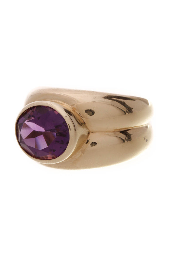 Tiffany & Co. Amethyst Ring Yellow Gold Size 7.5