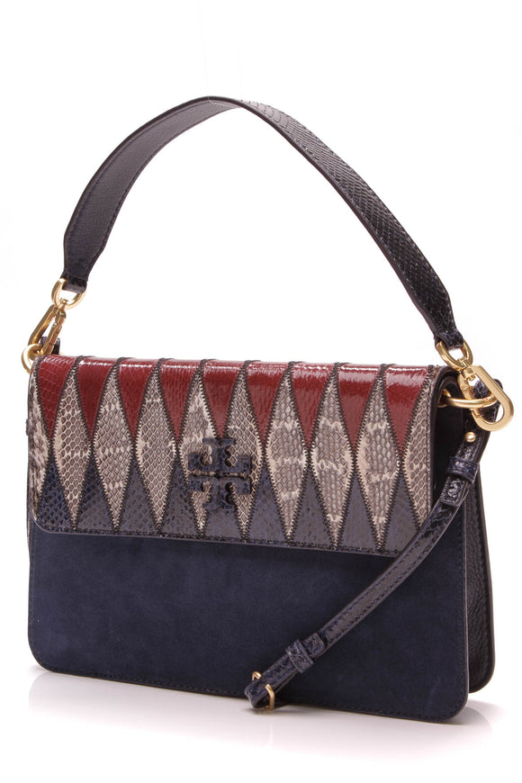 Tory Burch McGraw Bag Pieced-Leather Shoulder Bag Navy Suede Snakeskin