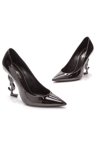 Saint Laurent Opyum 100 Pumps Black Patent Size 38