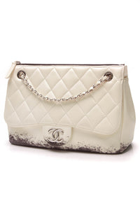 Chanel Blizzard Zip Top Jumbo Flap Bag Lambskin Black White