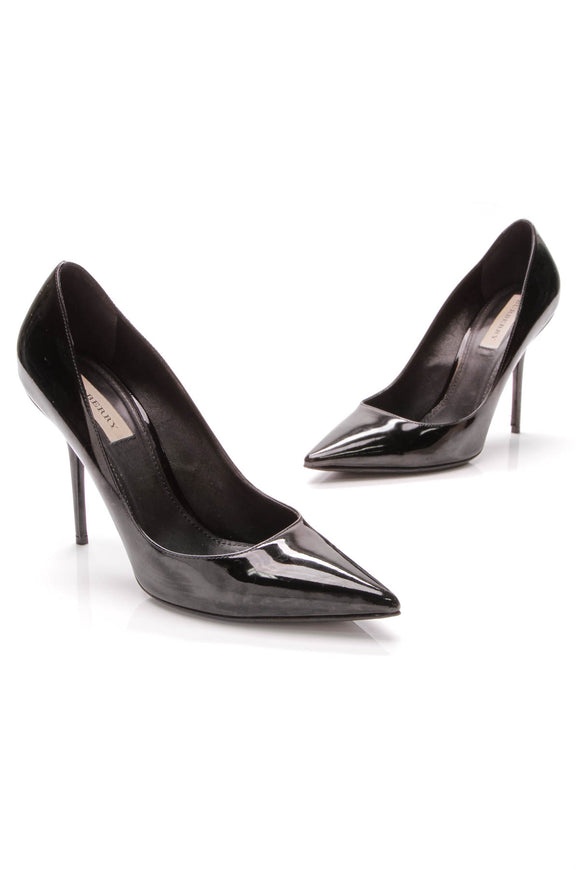 Burberry Tranley 100 Pointed Pumps Black Patent Leather Size 40.5