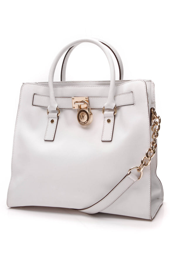 Michael Kors Large North South Hamilton Tote Bag White Saffiano Leather