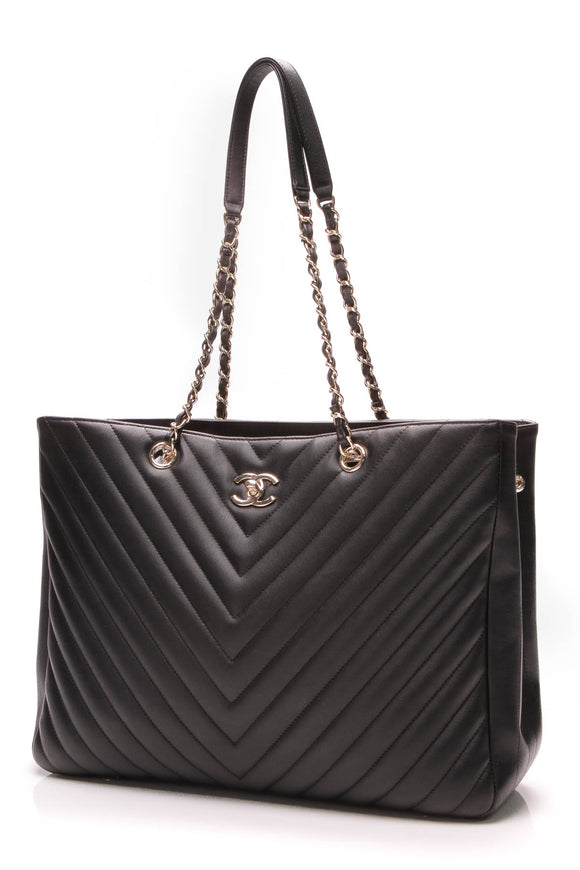 Chanel Chevron Tote Bag Black Grained Calfskin