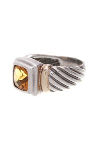 David Yurman Citrine Noblesse Ring Silver Yellow Gold Size 6.5