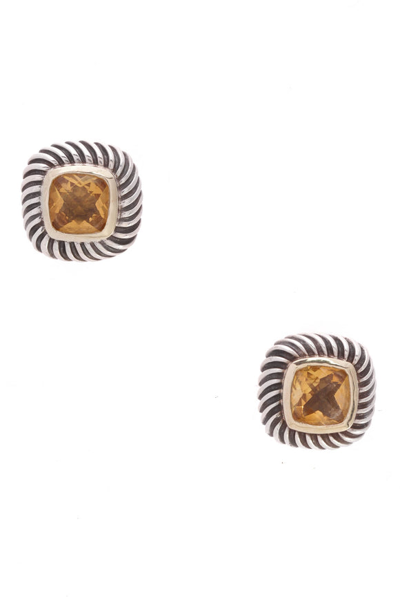 David Yurman Citrine Albion Cable Earrings Yellow Gold Silver