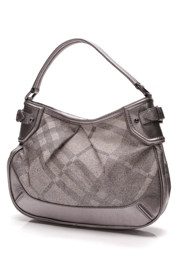 Burberry Medium Fairby Hobo Bag Shimmer Check Gray