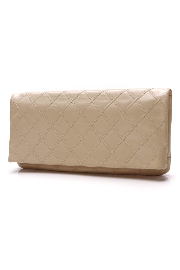 Chanel Thin City Clutch Beige Quilted Leather
