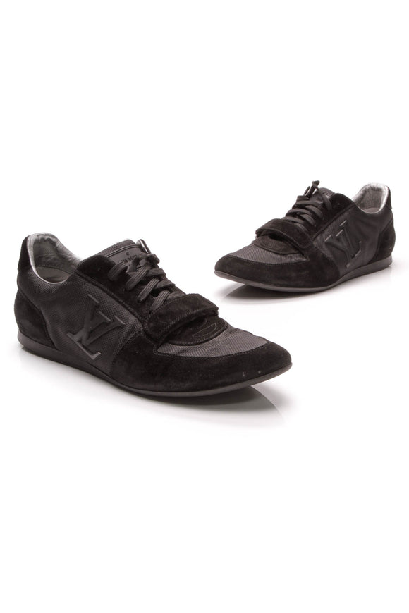 Louis Vuitton Initials Men's Sneakers Black Suede Mesh Size 8.5