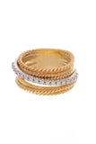 David Yurman Crossover Wide Ring Yellow Gold Diamond Size 6.5