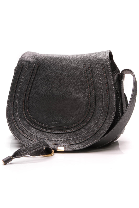 Chloe Medium Marcie Crossbody Bag Black Leather