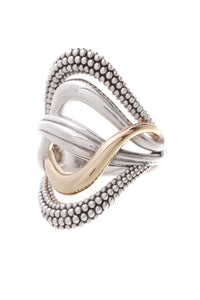 Lagos Caviar Ring Silver Yellow Gold Size 7