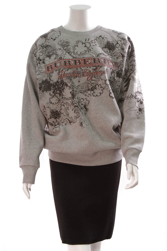 Burberry Doodle Print Jersey Sweatshirt Gray Size Medium