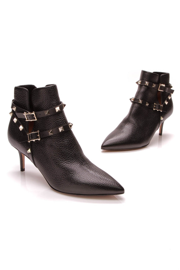 Valentino Rockstud Ankle Boots Black Size 37.5