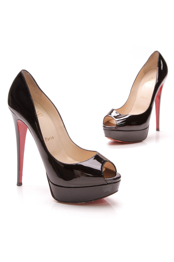 Christian Louboutin Lady Peep Pumps Black Patent Size 38