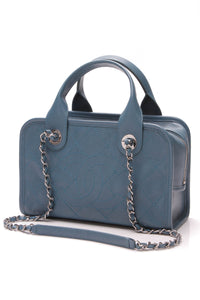 Chanel Small Deauville Bowling Bag Blue Quilted Caviar Leather