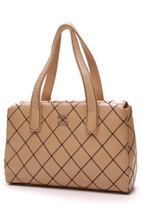 Chanel Tan Wild Stitch Tote Bag Beige Leather