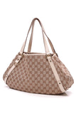 Gucci Medium Abbey Tote Bag Signature Canvas White Leather