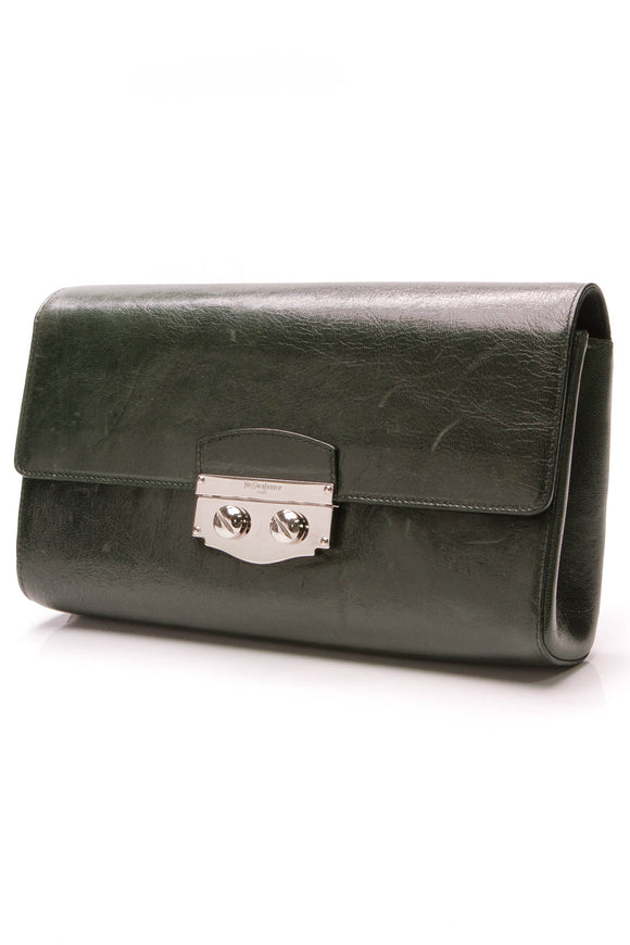 Yves Saint Laurent YSL Sac Le Sixieme Clutch Dark Green Leather