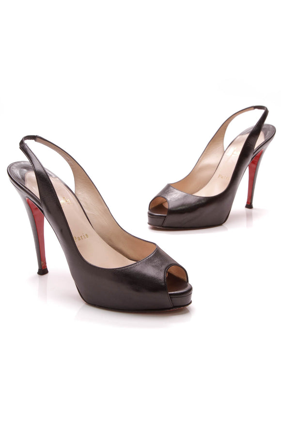 Christian Louboutin No Prive 120 Slingback Pumps Black Leather Size 40.5