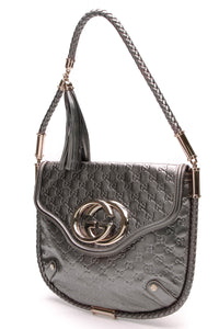 Gucci Britt Shoulder Bag Gunmetal Guccissima Leather