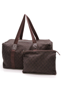 Gucci Large Carry-On Collapsible Duffle Travel Bag Brown Signature Canvas