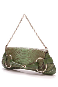 Gucci Horsebit Clutch Chain Large Clutch Bag Green Python