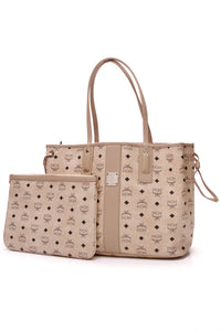 MCM Liz Reversible Medium Tote Bag Beige Visetos