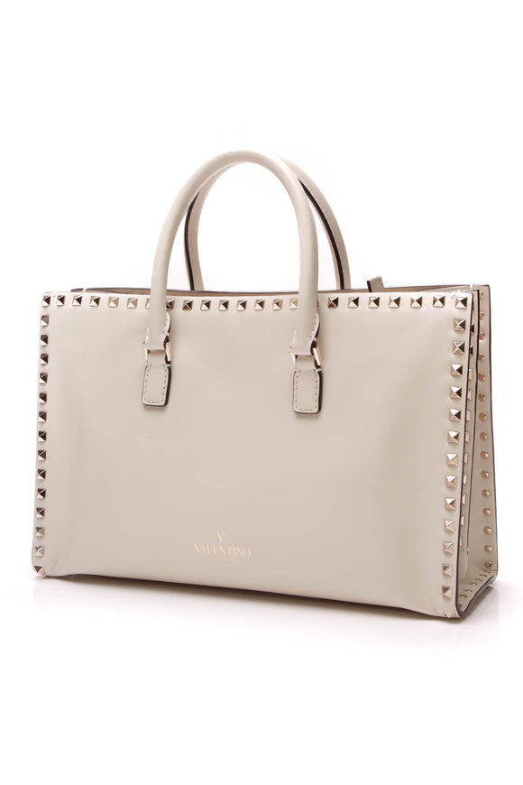 Valentino Rockstud Top Handle Bag Ivory Leather