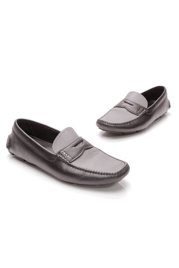 Prada Driving Loafers Black Gray Saffiano Leather Size 7