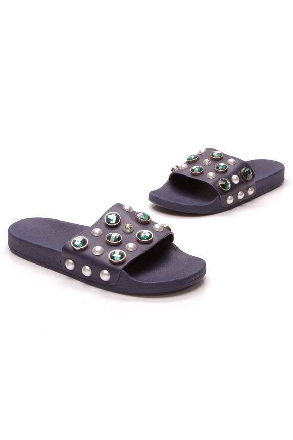 Tory Burch Vail Embellished Slide Sandals Navy Sea Size 11