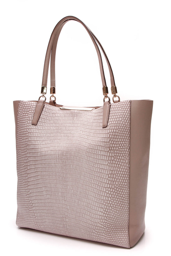 Coach Madison North South Bonded Tote Bag Beige Lizard Embossed Leather