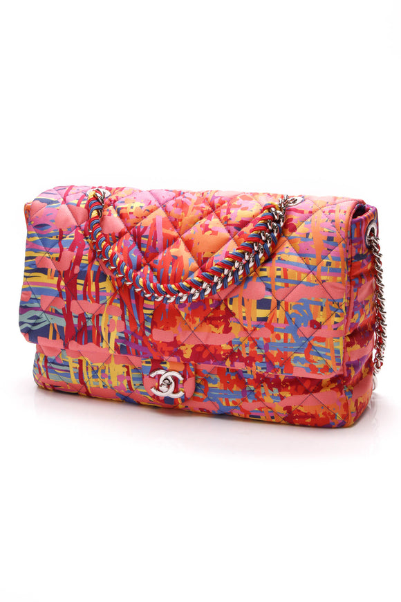 Chanel Patchwork Flap Bag Multicolor Satin Pink
