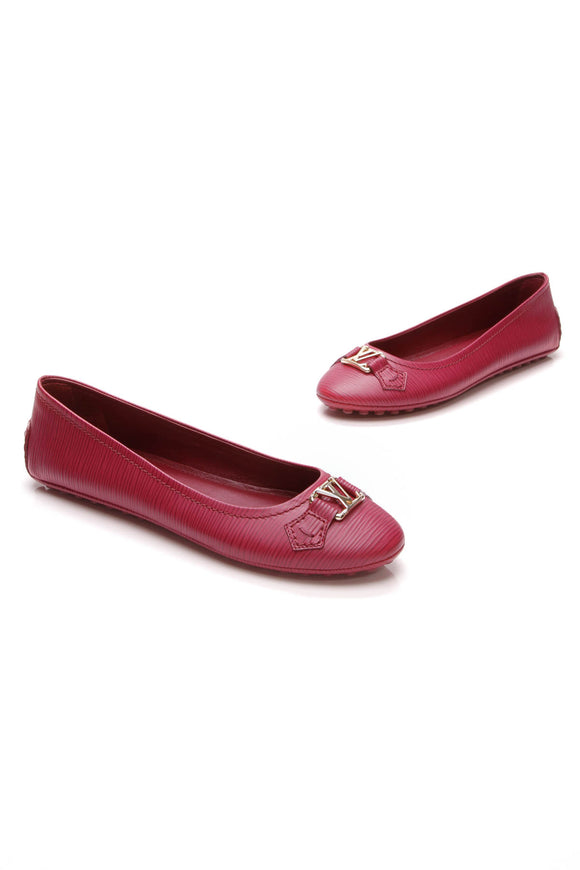 Louis Vuitton Oxford Ballerina Flats Fuchsia Epi Leather Size 39.5