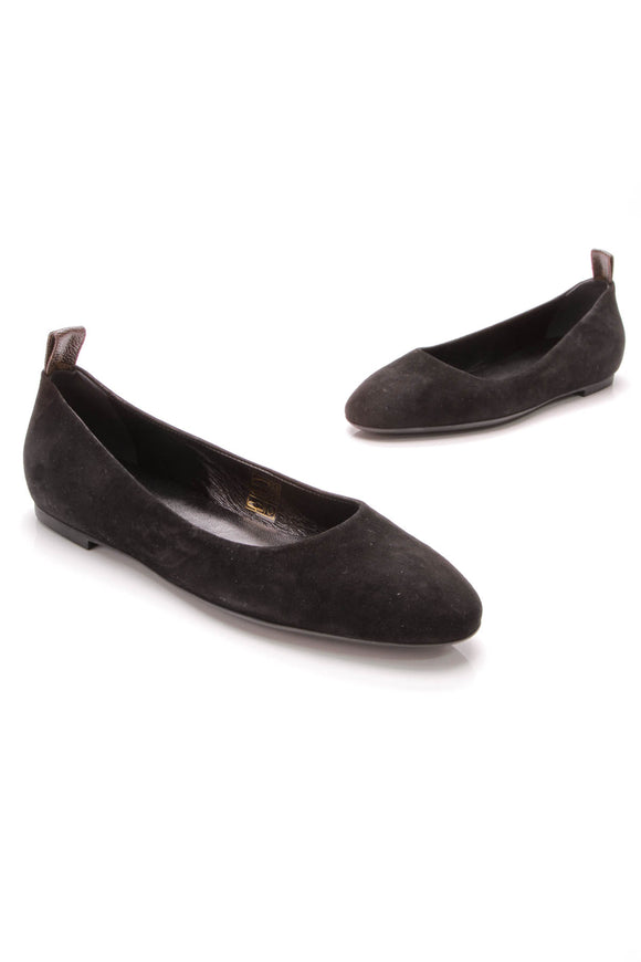 Louis Vuitton Uniforme Flats Noir Suede Size 40.5 Black